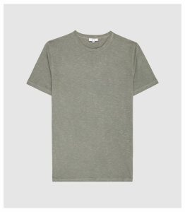 Reiss Kenny - Melange Crew Neck T-shirt in Sage, Mens, Size XXL