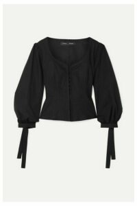 Proenza Schouler - Tie-detailed Stretch-cotton Poplin Top - Black