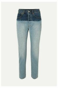 Vetements - Split Two-tone High-rise Straight-leg Jeans - Indigo