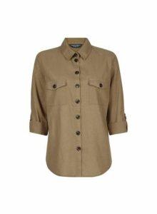 Womens **Tall Khaki Shirt With Linen, Khaki