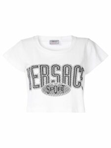 Versace Pre-Owned logo cropped top - White