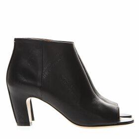 Maison Margiela Black Leather Logoed Open Toe Ankle Boots