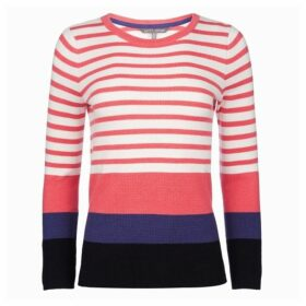 Coral Crew Neck Block Panel Jumper