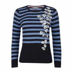 Blue Knitted Intarsia Floral and Stripe Jumper