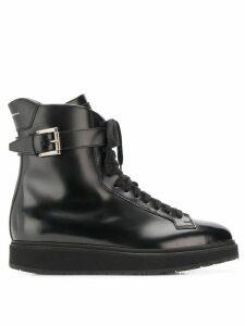 Santoni buckled combat boots - Black