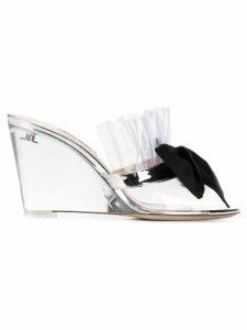 Miu Miu clear and black bow 85 PVC mules