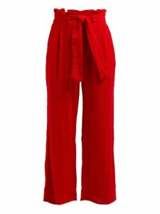 Mara Hoffman - Arianna Wide Leg Cotton Trousers - Womens - Red