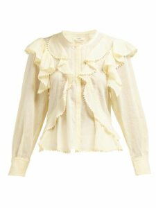 Isabel Marant Étoile - Alea Ruffled Cotton Blouse - Womens - Light Yellow