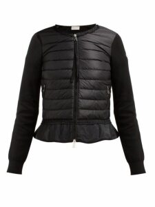 Moncler - Quilted Panel Zip Through Cotton Cardigan - Womens - Black