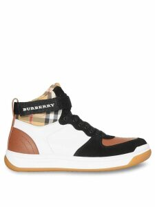 Burberry Leather and Suede High-top Sneakers - Brown