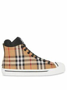 Burberry Vintage Check and Neoprene High-top Sneakers - Brown