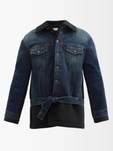 Miu Miu - Logo-patch Ribbed-knit Cotton Zip Cardigan - Womens - Navy Multi