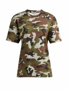 Miu Miu - Logo-embroidered Camouflage-print Cotton T-shirt - Womens - Green Multi