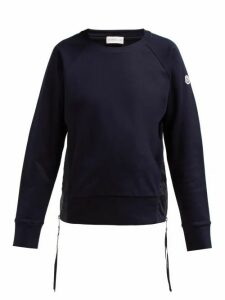 Moncler - Maglia Girocollo Zip Fastening Cotton Sweatshirt - Womens - Navy