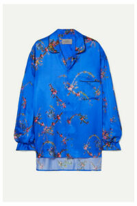 Preen by Thornton Bregazzi - Oversized Asymmetric Floral-print Satin Shirt - Blue