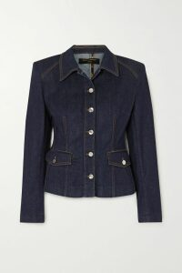 Rokh - Open-back Tie-detailed Striped Satin Blouse - Blue