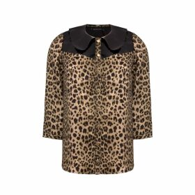 Manley - Mia Silk Shirt With Patent Leather Collar Leopard & Black