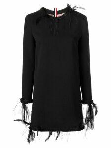 Thom Browne Raw Edge Appliqué Mini Cardigan Dress - Black