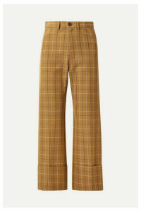 Sea - Poirot Cropped Checked Cotton-blend Twill Straight-leg Pants - Camel