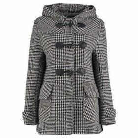 Anastasia  Prince Of Wales Check Short Winter Duffle Coat  women's Coat in Black