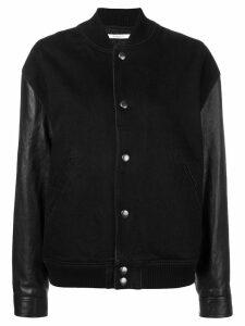 Givenchy leather sleeve bomber jacket - Black