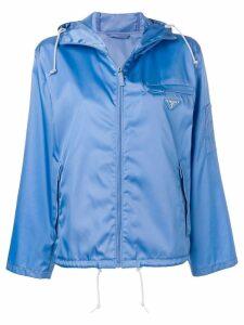 Prada logo patch waterproof windbreaker - Blue