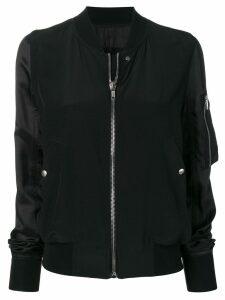 Rick Owens contrasting sleeve bomber jacket - Black