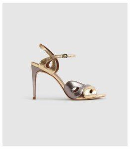 Reiss Savona Metallic - Strappy High Heeled Sandals in Metallic, Womens, Size 8