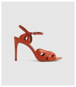 Reiss Savona - Strappy High Heeled Sandals in Burnt Orange, Womens, Size 8