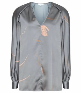 Reiss Pippy - Abstract Printed V-neck Blouse in Grey, Womens, Size 14
