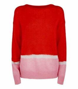 JDY Red Glitter Colour Block Jumper New Look