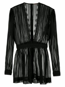 À La Garçonne sheer lace trim blouse - Black