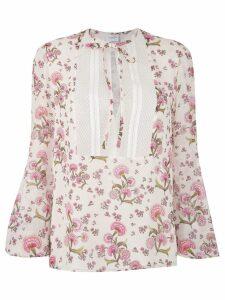Giambattista Valli floral print tie neck blouse - White