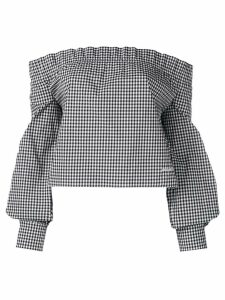 Miu Miu gingham check off-shoulder top - Black