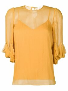 See by Chloé draped detail sheer blouse - Yellow