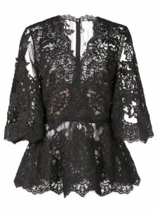 Marchesa lace see-through blouse - Black