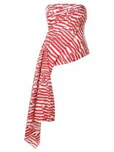 Halpern draped strapless top - Red