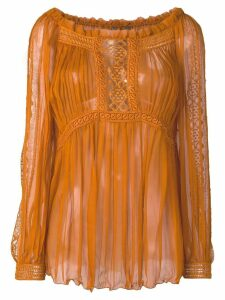 Alberta Ferretti sheer pleated blouse - Brown
