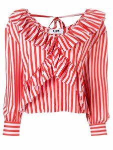 MSGM striped ruffle blouse - Orange