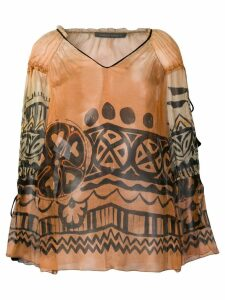 Alberta Ferretti sheer patterned blouse - NEUTRALS