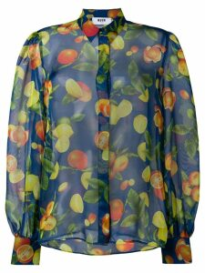 MSGM fruit print sheer blouse - Blue