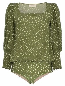 Adriana Degreas Mille Punti puffed sleeve top - Green