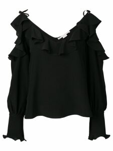 Stella McCartney ruffled cold-shoulder blouse - Black