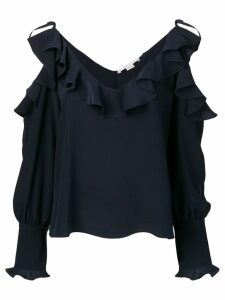 Stella McCartney ruffled cold-shoulder blouse - Blue