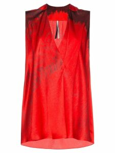 Poiret Sleeveless printed V-neck silk blouse - Red