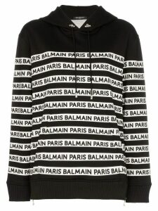 Balmain logo print tape cotton hoodie - Black