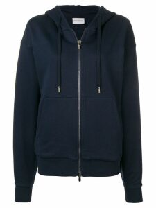 Roqa embroidered zip front hoodie - Blue