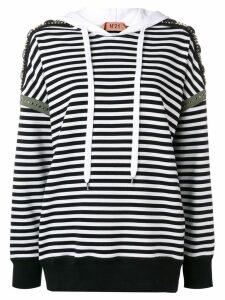 Nº21 striped embellished hoodie - White