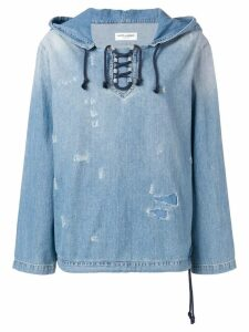 Saint Laurent distressed denim hoodie - Blue