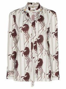 Chloé horse print necktie shirt - White
